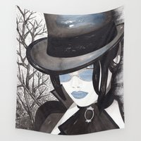 pastel goth Wall Tapestries featuring Goth Girl by Sweet Bliss Art