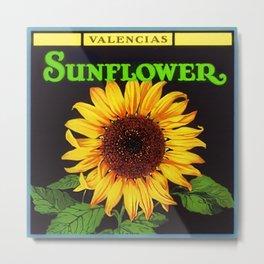Vintage Green Orangedale Sunflower Crate Decorative Art Label Poster Metal Print