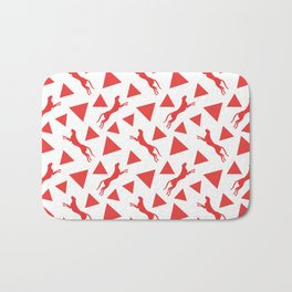 Gorgeous wild jumping cheetahs and abstract red geometric triangle shapes. Stylish classy elegant white retro vintage animal whimsical nature pattern. Silhouettes. Bath Mat