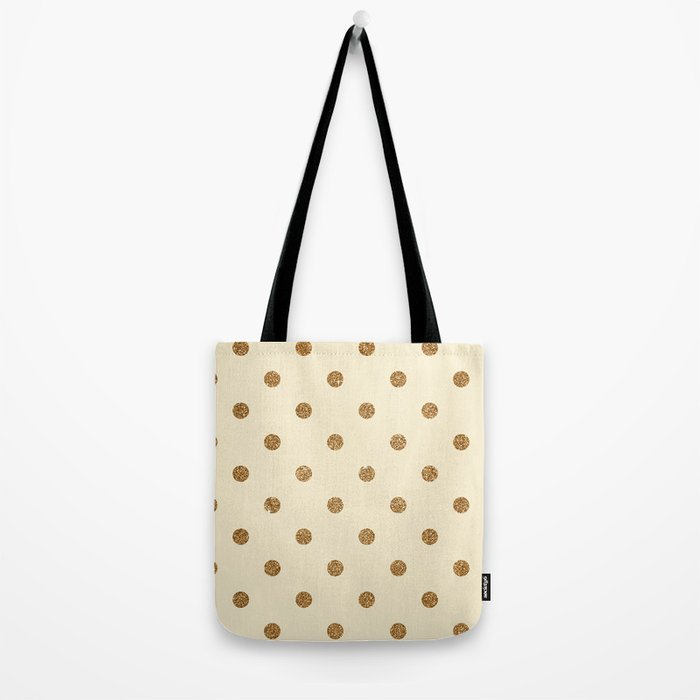 Blanched Almond Gold Glitter Dot Pattern Tote Bag