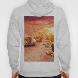 Old vintage car truck abandoned in the desert at the sunset Hoody