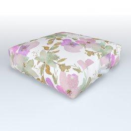 Pink violet mint green gold glitter floral Outdoor Floor Cushion