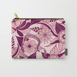 Artsy Girly Plum Pink Floral Illustration Art Carry-All Pouch