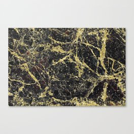 Marble - Glittery Gold Marble on Black Design Canvas Print