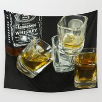 whiskey Wall Tapestries featuring A Little Nip - Whiskey by NL Designs