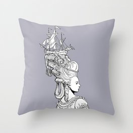 Girl With Ship Throw Pillow