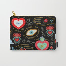 Milagro Love Hearts - Black Carry-All Pouch
