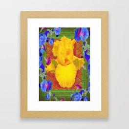 Yellow-Gold Iris, Blue Morning Glories Pattern Abstract Framed Art Print