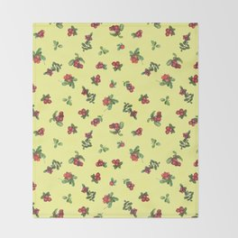 Cranberries yellow background Throw Blanket