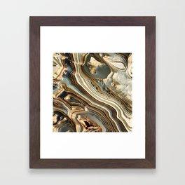 White Gold Agate Abstract Framed Art Print