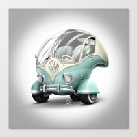 volkswagen Canvas Prints featuring Volkswagen Bubble by Marcelo Schultz