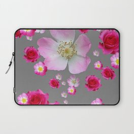 FUCHSIA PINK & RED ROSES ON GREY Laptop Sleeve
