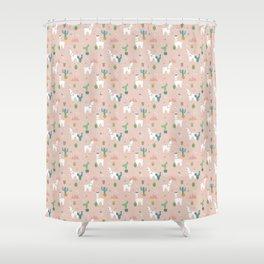 Summer Llamas on Pink Shower Curtain