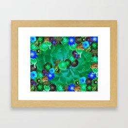 Flower explosion in green and blue Framed Art Print