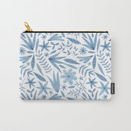leafy blue botanical pattern Carry-All Pouch