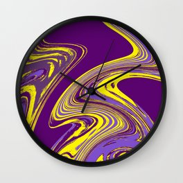 Purple and Yellow Fluid Painting Wall Clock