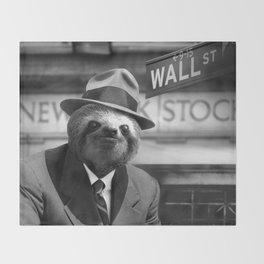 Sloth in Wall Street Throw Blanket