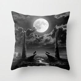 XVIII. The Moon Tarot Card Illustration Throw Pillow