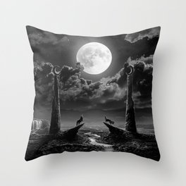 XVIII. The Moon Tarot Card Illustration Throw Pillow