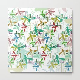 Multicolored mosquitoes flying in the sky on a white background with the inscription Metal Print