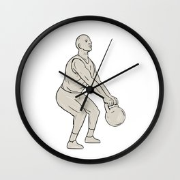 Athlete Fitness Squatting Kettlebell Drawing Wall Clock