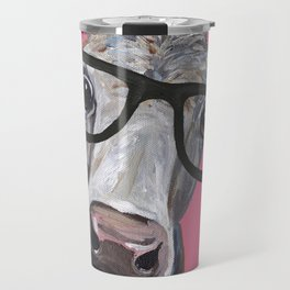 Cow Art, Colorful Cow With Glasses Art. Travel Mug