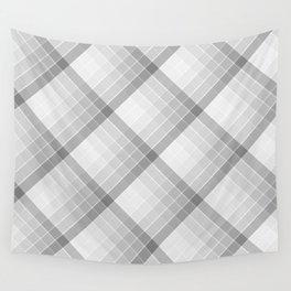 Gray Geometric Squares Diagonal Check Tablecloth Wall Tapestry
