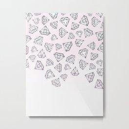 Diamond Shower - Pink Metal Print