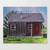 cabin Canvas Prints featuring Cabin by Minx Paints