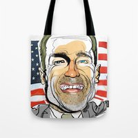 arnold Tote Bags featuring Arnold Schwarzenegger by drawgood