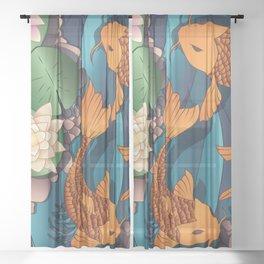 Carp Koi Fish in pond 002 Sheer Curtain