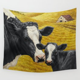Holstein Cow and Cute Calf Wall Tapestry