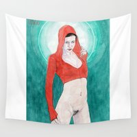 madonna Wall Tapestries featuring Little Red Madonna by Bryan James