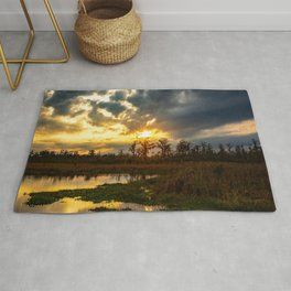 Down on the Bayou - Sunset Over Cypress Trees in Louisiana Swamp Rug