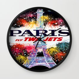 Paris Vintage Travel Poster; Eiffel Tower at Night Wall Clock