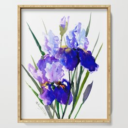 Garden Irises, Blue Purple Floral Design Serving Tray