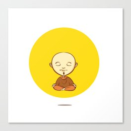 Cute cartoon buddhist monk Canvas Print