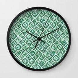Watercolor Triangles (Green) Wall Clock