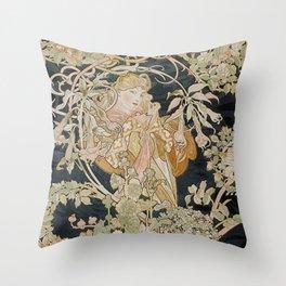 1898 - 1900 Femme a Marguerite by Alphonse Mucha Throw Pillow