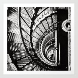 Spiral staircase black and white Art Print