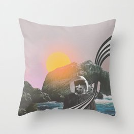 Visiting //// Astronaut Moon Landing Space Collage Art Throw Pillow