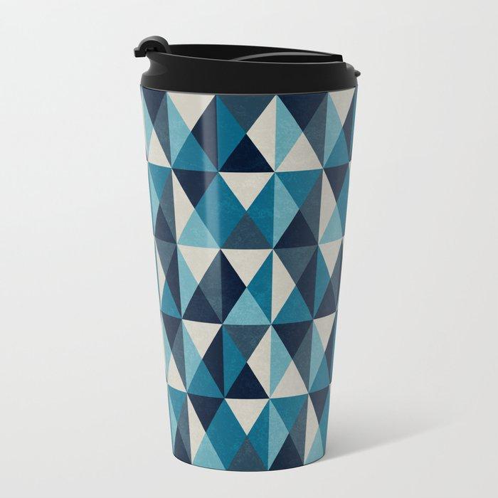 White, indigo and black rhombus pattern Metal Travel Mug