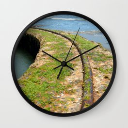 Old Tracks By The Ocean Wall Clock