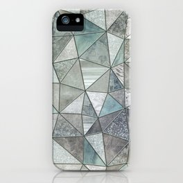 Teal And Grey Triangles Stained Glass Style iPhone Case