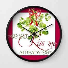Christmas Holiday Mistletoe Party Fun Kiss Me  Wall Clock
