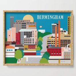 Birmingham, Alabama - Skyline Illustration by Loose Petals Serving Tray