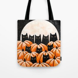 Black Cats in the Pumpkin Patch Tote Bag