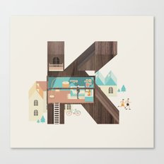 Resort Type - Letter K Canvas Print
