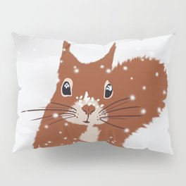 Red squirrel in the winter snow with white snowflakes cute home decor nursery drawing Pillow Sham