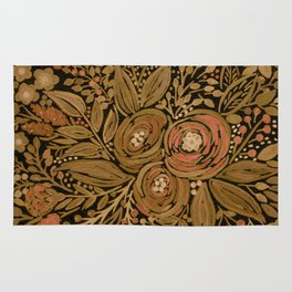 Watercolor .   Black brown floral pattern . Rug